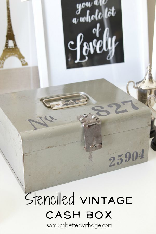 Stencilled vintage cash box / up close picture of cash box - So Much Better With Age