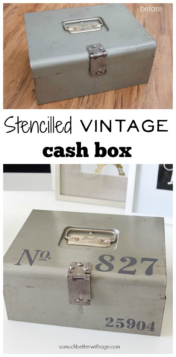 Stencilled vintage cash box / before and after picture - So Much Better With Age