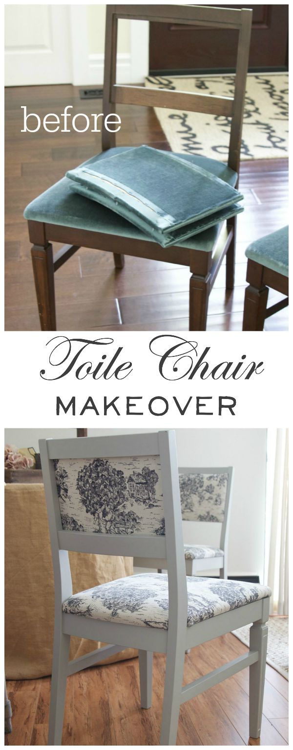 Toile chair makeover before and after | somuchbetterwithage.com