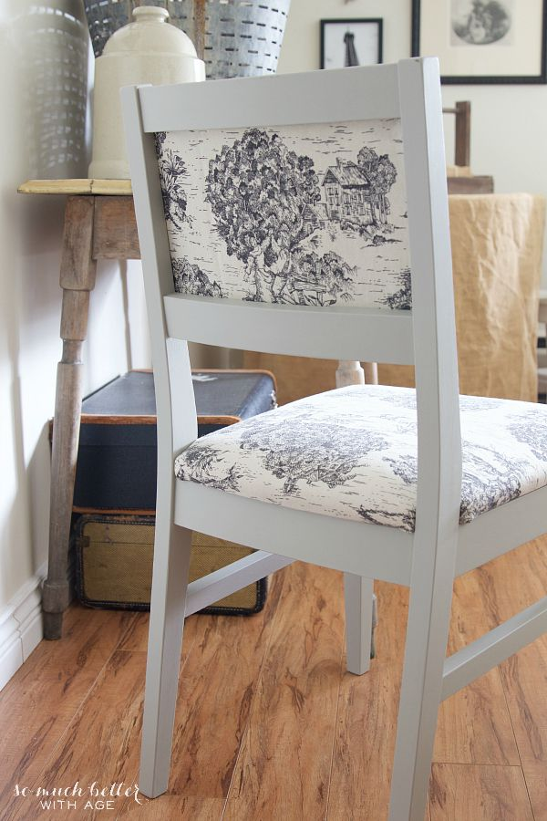 Toile Chair Makeover-How to Reupholster a Chair - So Much Better With Age
