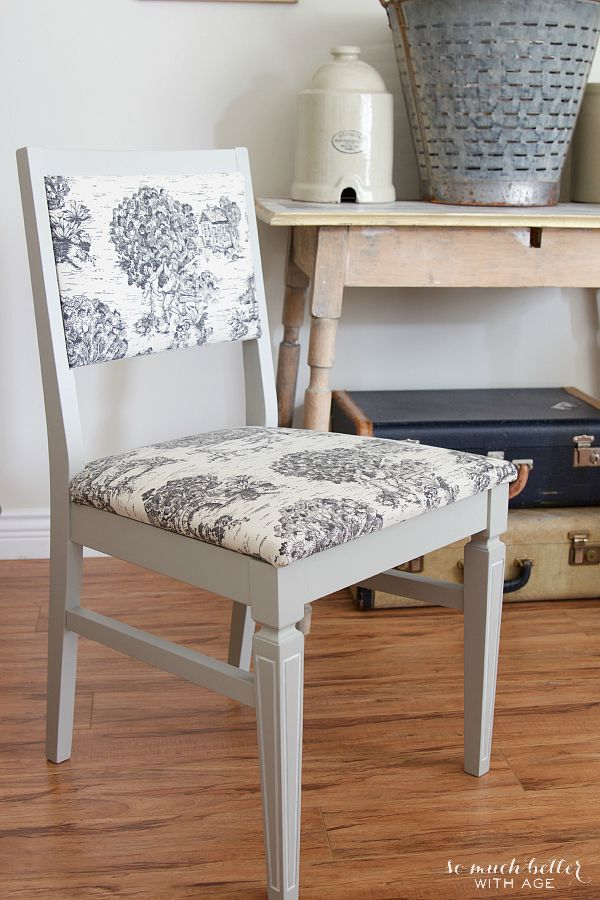 French toile chair makeover | somuchbetterwithage.com