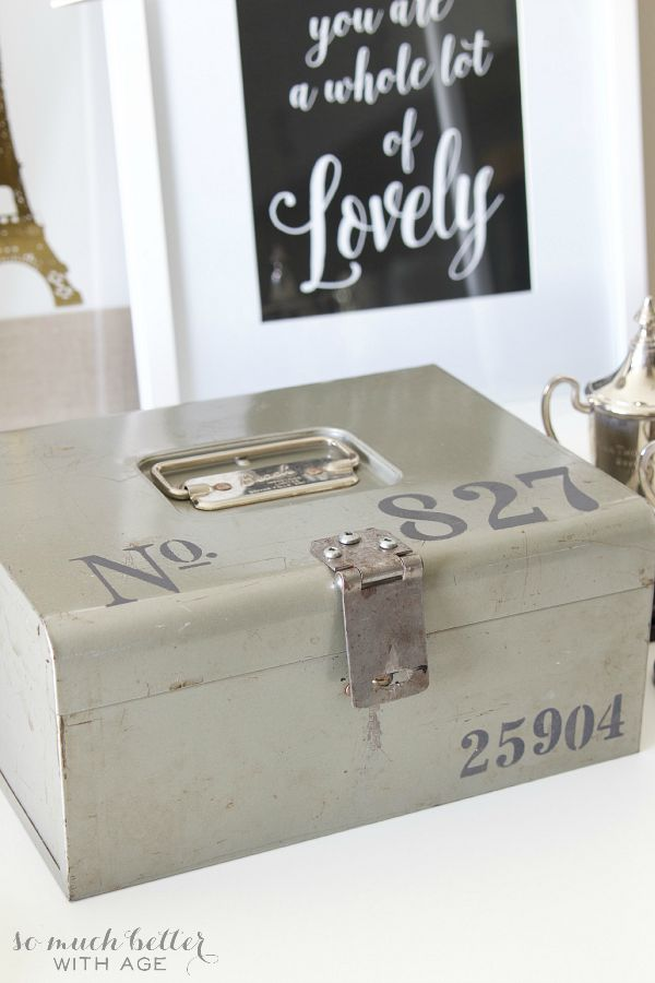 Stencilled vintage cash box / DIY stencilling on cash box - So Much Better With Age