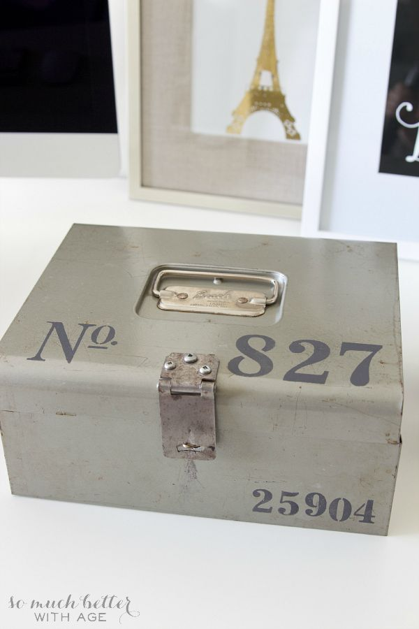 Stencilled vintage cash box / after with stencilling - So Much Better With Age