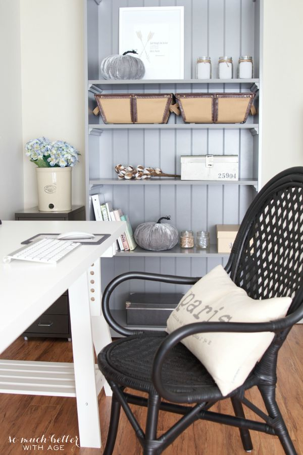 Vintage Neutral Fall Tour / neutral bookshelf in office - So Much Better With Age