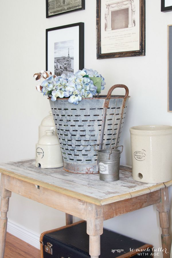 Vintage Neutral Fall Tour / wooden table with flowers - So Much Better With Age