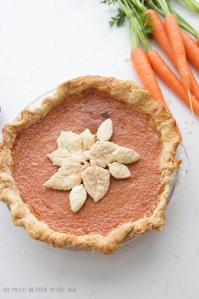 Carrot Pie For Thanksgiving / delicious carrot pie and carrots on table - So Much Better With Age