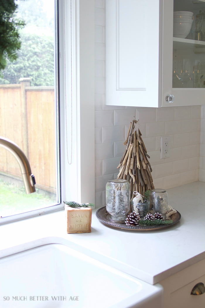 White kitchen, driftwood Christmas tree- Christmas Kitchen Tour 2016