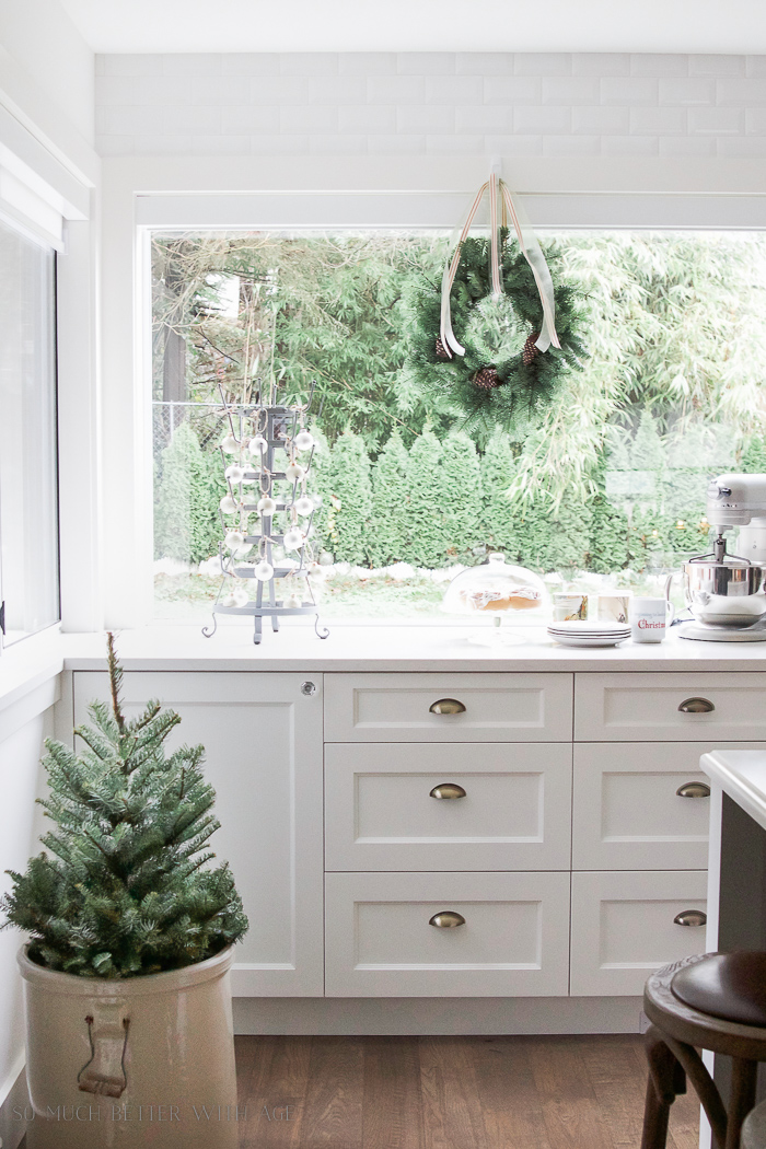 Fir tree in crock, white kitchen - Christmas kitchen tour 2016