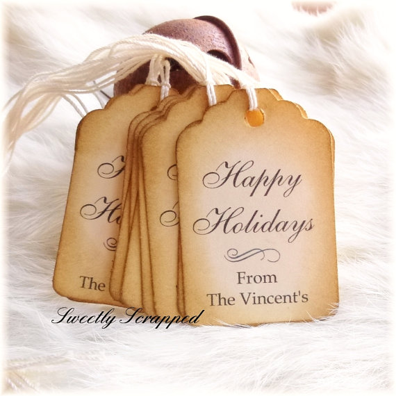Happy Holidays gift tags.