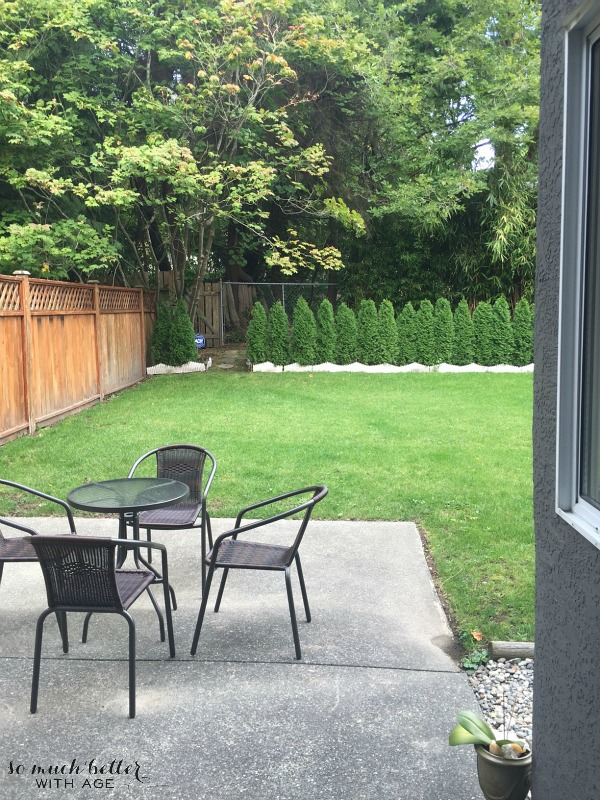 The back patio has a table and chairs with a large grassy area.