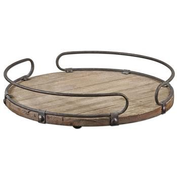 A wooden tray with metal, very distressed looking.