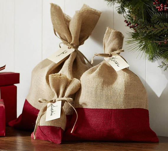 Made in Burlap with red and burlap bags.