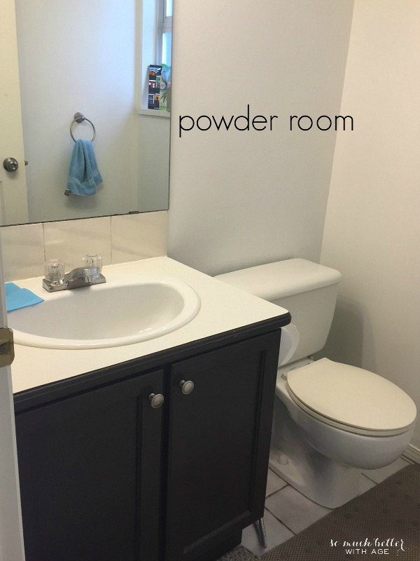 Powder Room Design Board / before picture of vanity - So Much Better With Age