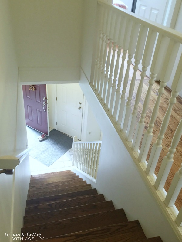 A shot of the stairwell leading to the upstairs bedrooms.