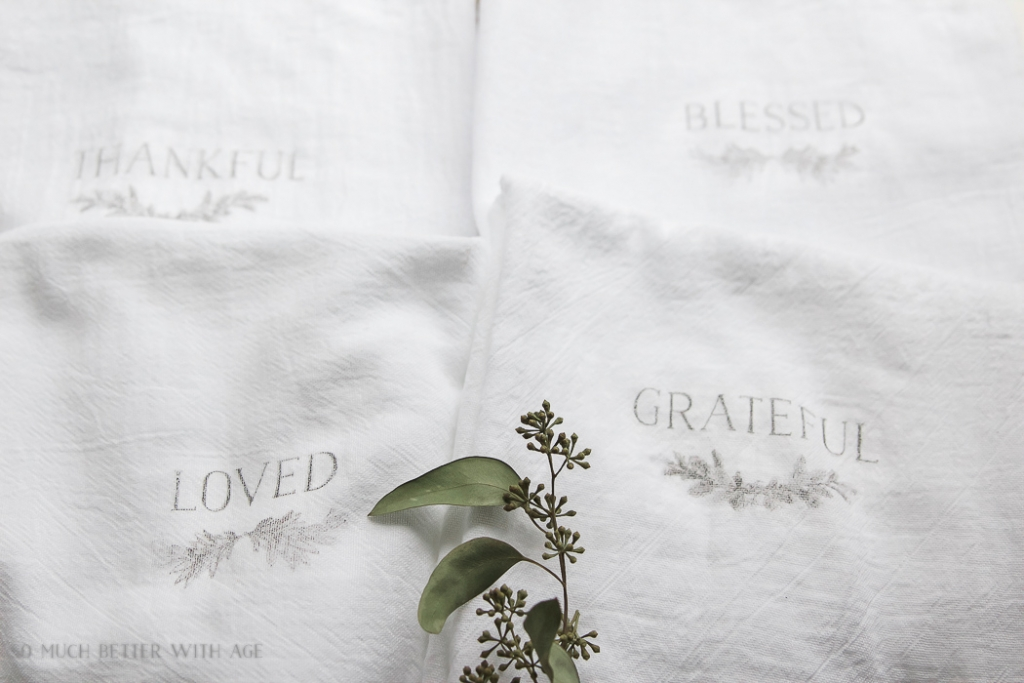 Thanksgiving napkin transfer tutorial / loved and grateful word transfer - So Much Better With Age