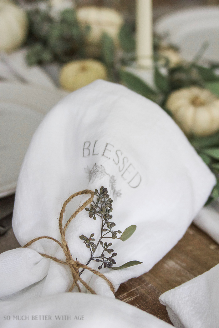 Thanksgiving napkin transfer tutorial / blessed imprint on tea towel - So Much Better With Age