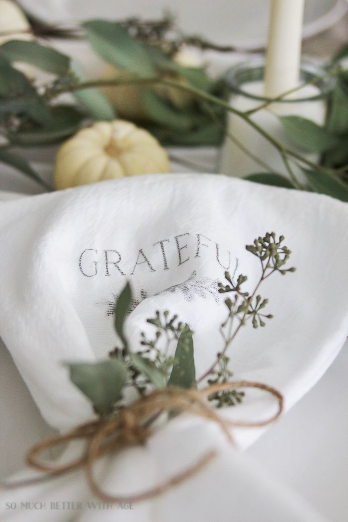Thanksgiving napkin transfer tutorial - So Much Better With Age