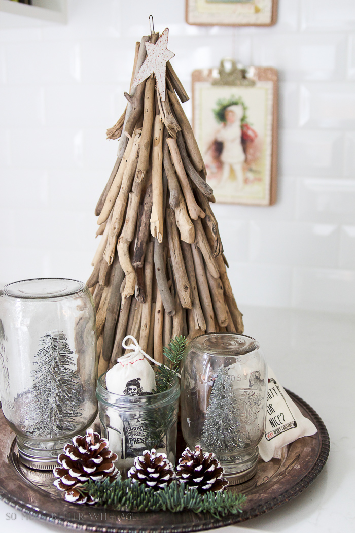 Driftwood tree, snowglobes- Christmas Kitchen Tour 2016