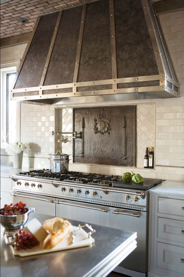 White and gold kitchen inspiration / French hood range - So Much Better With Age