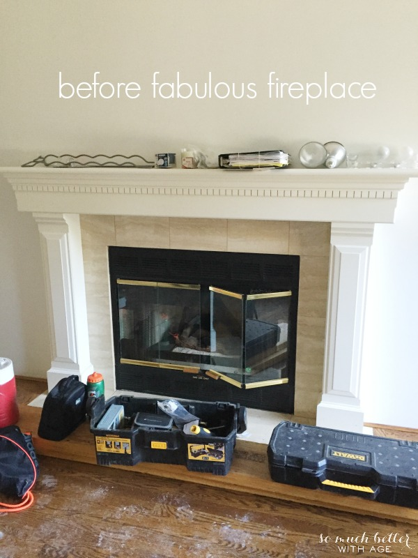 Fabulous Limestone Fireplaces / before picture of fireplace - So Much Better With Age