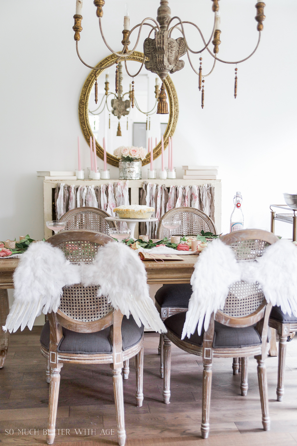Pretty pink roses Valentine's Day table setting / with angel wings - So Much Better With Age