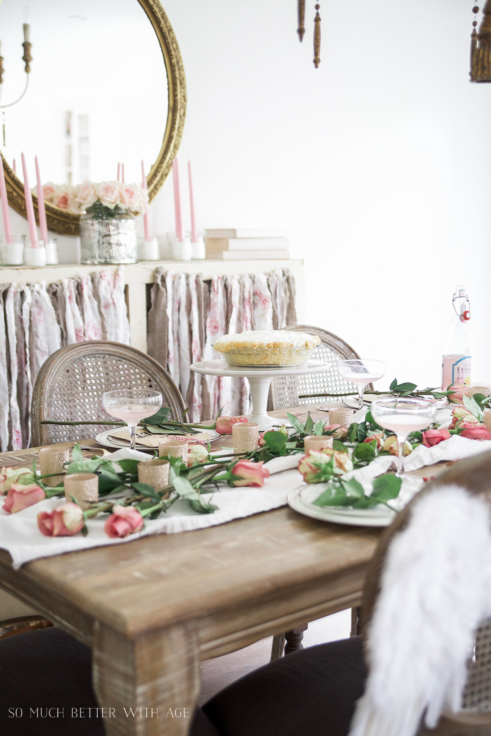 Pretty pink roses Valentine's Day table setting- So Much Better With Age