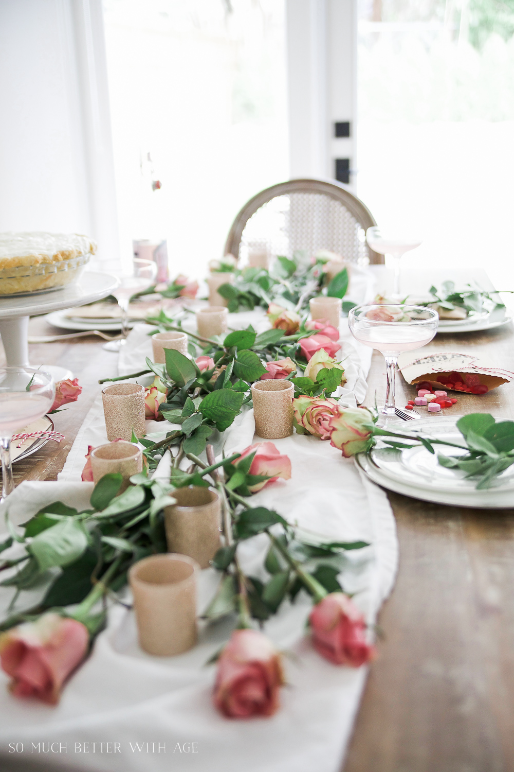 How to Set a Beautiful Valentine's Day Table Setting, a step-by-step guide / candy on table - So Much Better With Age