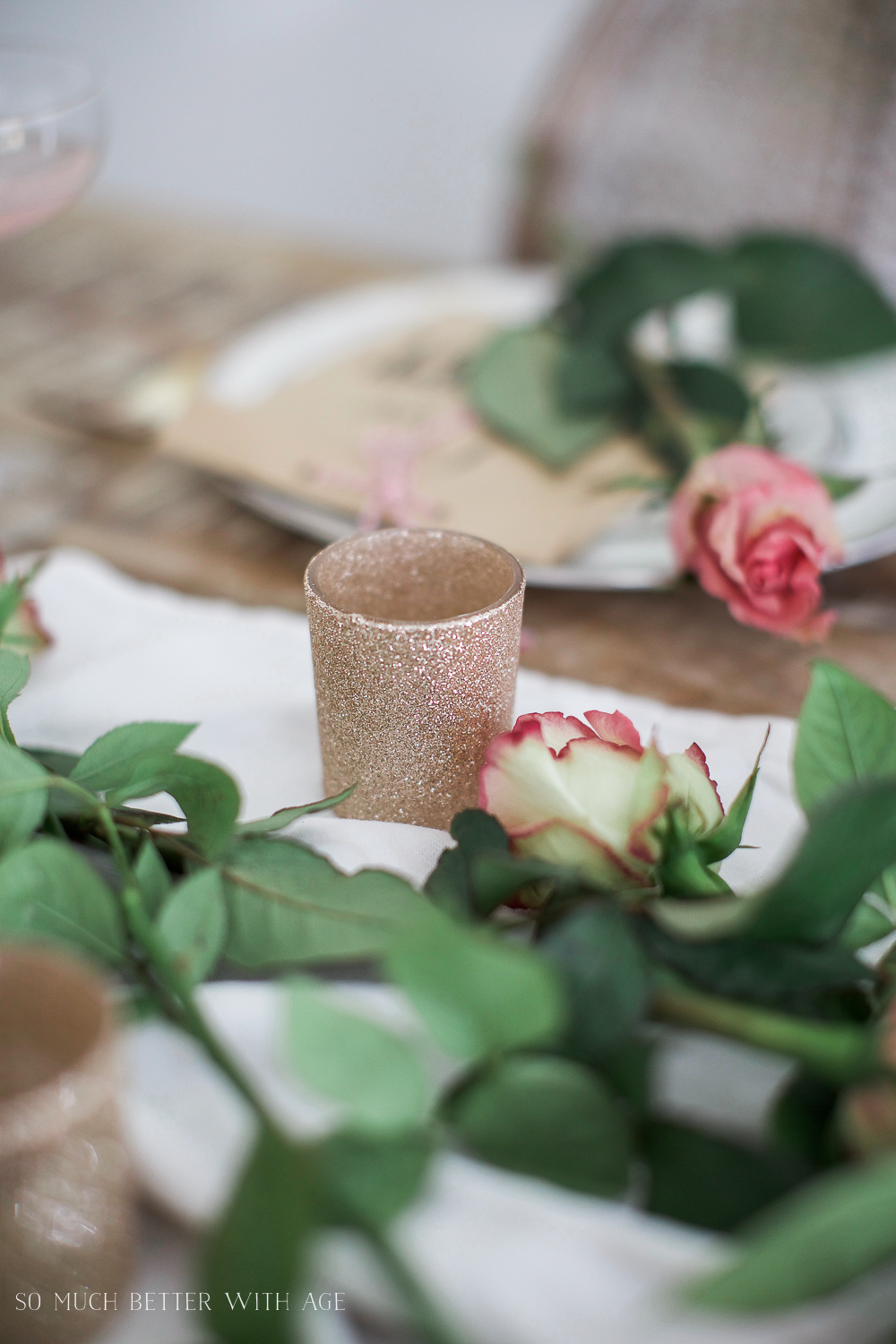 Pretty pink roses Valentine's Day table setting / sparkly candle holders - So Much Better With Age