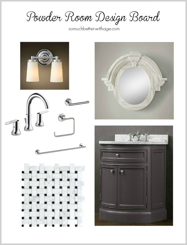 Powder Room Design Board - vintage and modern touches