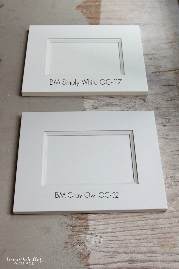 Benjamin Moore Simply White, Gray Owl / My Big Beautiful Kitchen Renovation