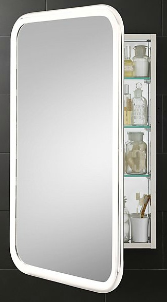 Mirror and silver medicine cabinet with door open.