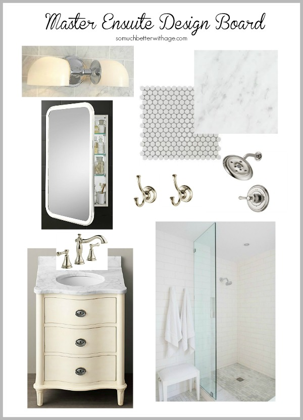 Design board with shower, vanity and lights.