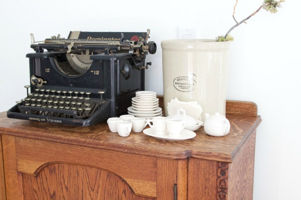 Just moved in to my new house / Old typewriter, crock and mini tea set - So Much Better With Age