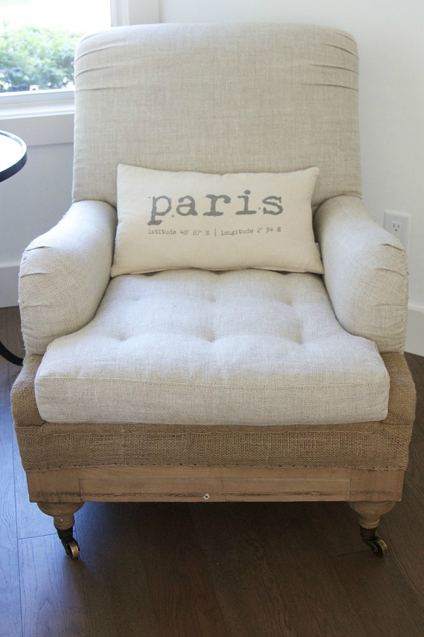 Just moved in to my new house / Restoration Hardware chair with Paris pillow - So Much Better With Age