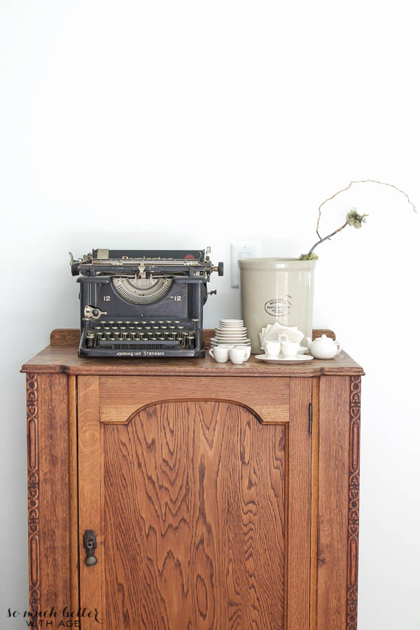 Living room tour & unique gift / typewriter on cabinet - So Much Better With Age
