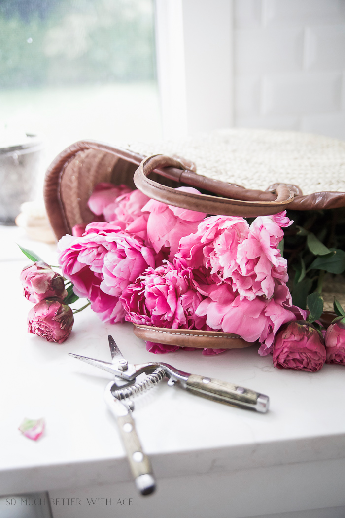 Peonies in French basket/French Vintage Summer Tour and Simple Basket Centrepiece - So Much Better With Age