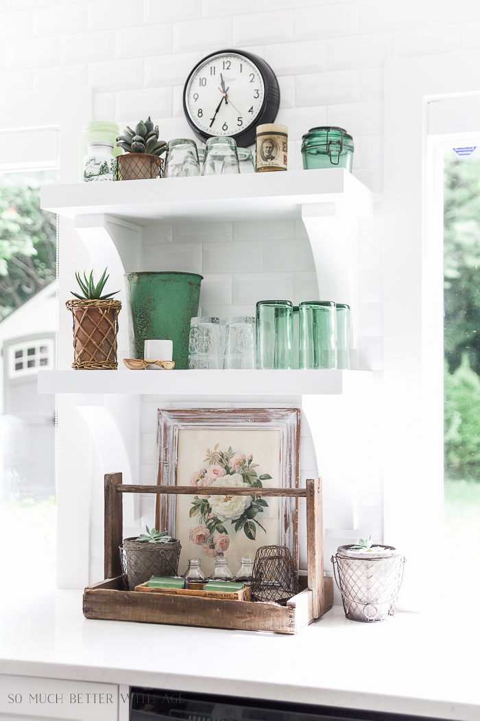 Green decor & succulents /French Vintage Summer Tour and Simple Basket Centrepiece - So Much Better With Age