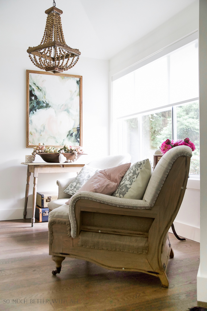 Wooden beaded chandelier /French Vintage Summer Tour and Simple Basket Centrepiece - So Much Better With Age