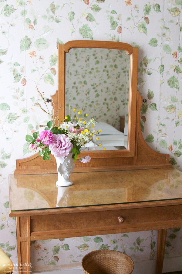My time in France at Chateau Mondesir, 13th century Chateau / flowers on vanity - So Much Better With Age