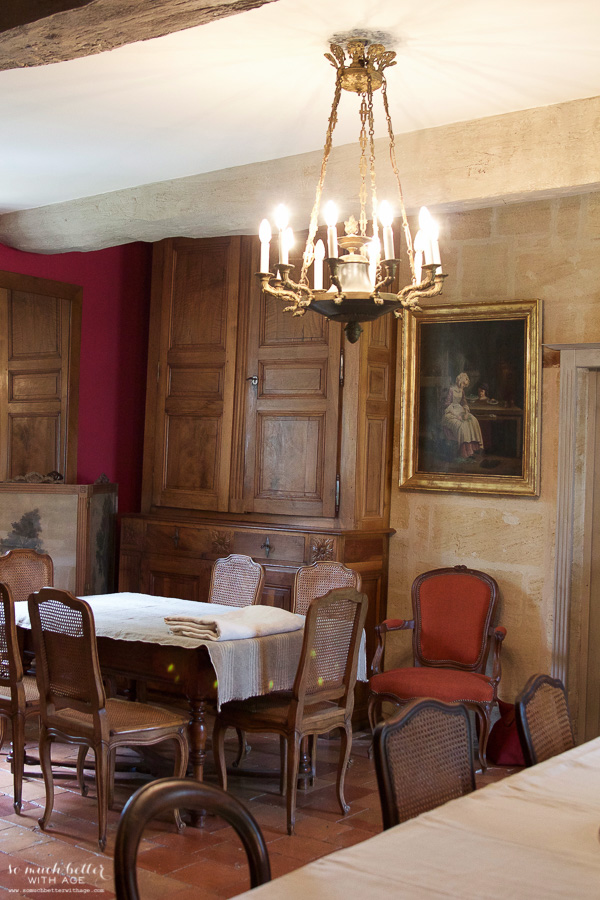 My time in France at Chateau Mondesir, 13th century Chateau / dining table - So Much Better With Age