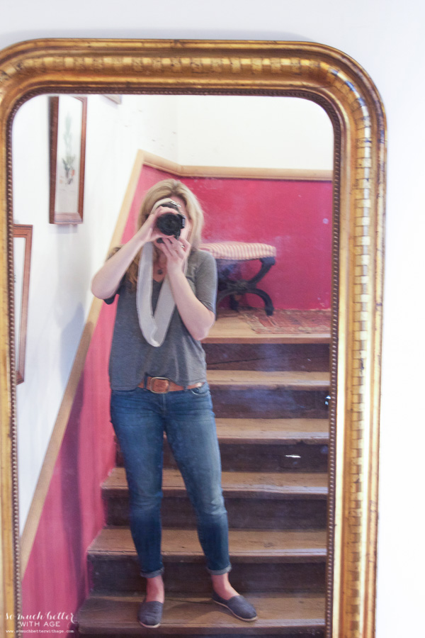 My time in France at Chateau Mondesir, 13th century Chateau / my image in mirror - So Much Better With Age