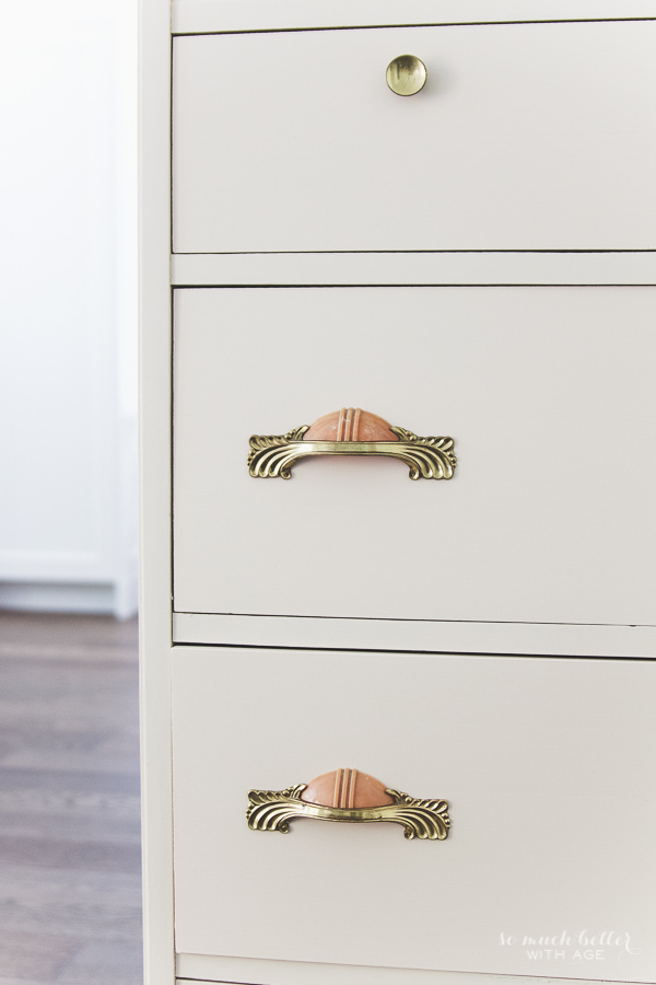Vintage pink dresser makeover using Fusion Mineral Paint / details on dresser - So Much Better With Age