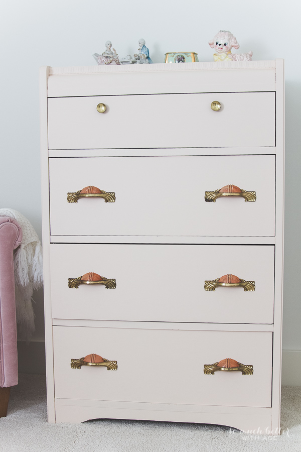 Vintage pink dresser makeover using Fusion Mineral Paint / pretty dresser - So Much Better With Age
