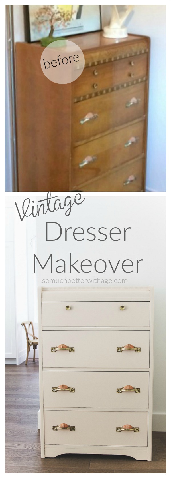 Vintage pink dresser makeover using Fusion Mineral Paint / So Much Better With Age