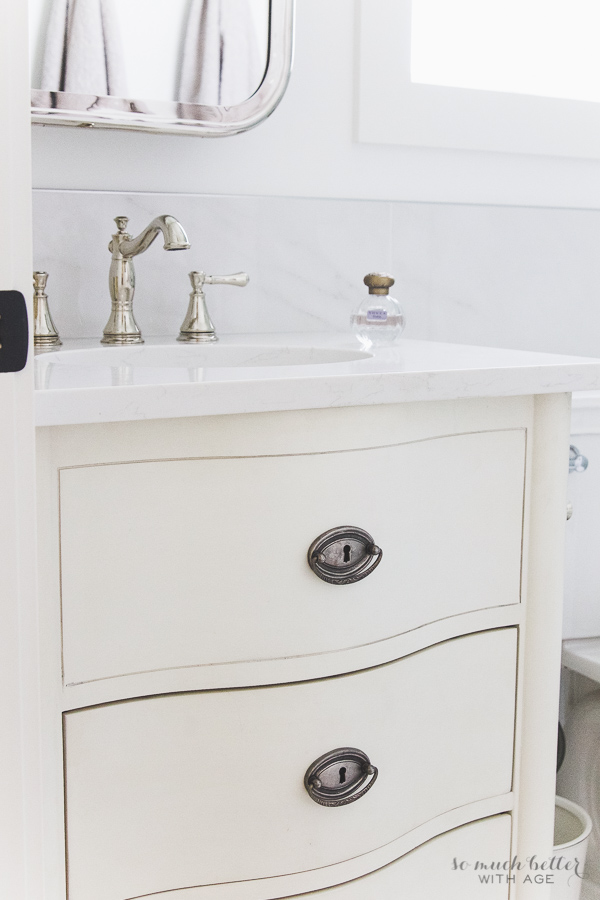 Master Ensuite / Bathroom vanity from Restoration Hardware, faux carrara marble bathroom - So Much Better With Age