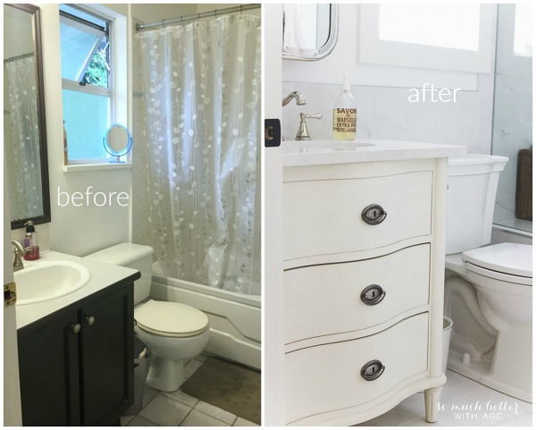 Master Ensuite / Before and after bathroom makeover using porcelain tile that looks like carrara marble - So Much Better With Age