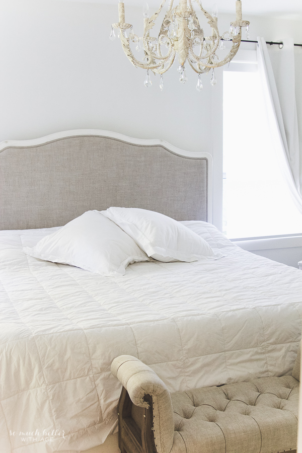 Restoration Hardware bed, decorating the master bedroom