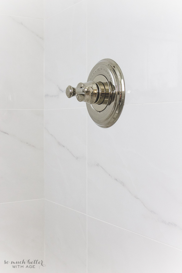 Master Ensuite / Delta polished nickel shower faucet with porcelain tile - So Much Better With Age