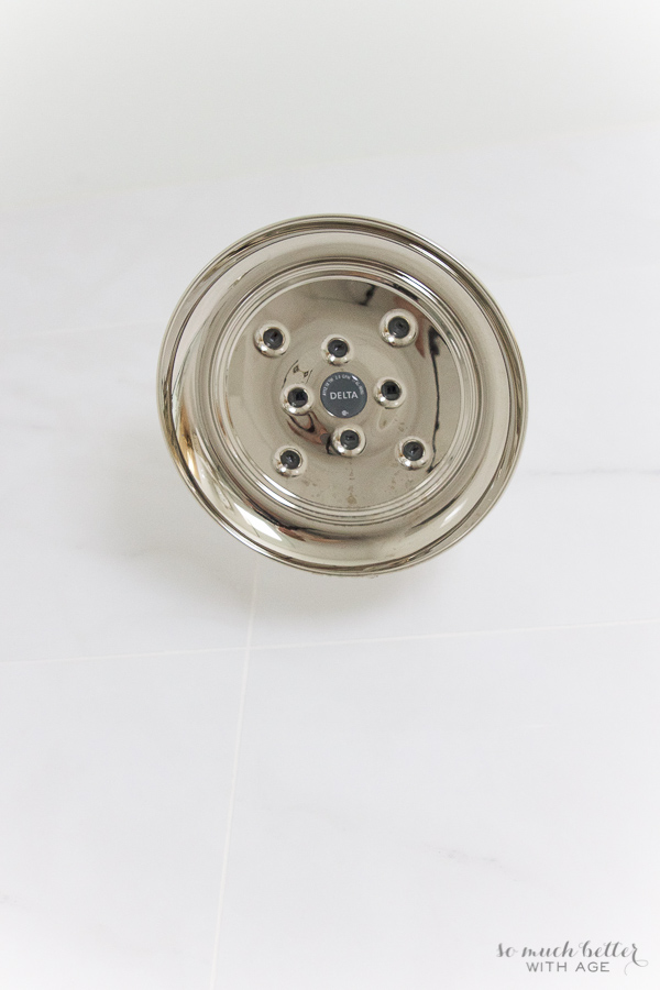 Master Ensuite / Delta polished nickel shower head - So Much Better With Age