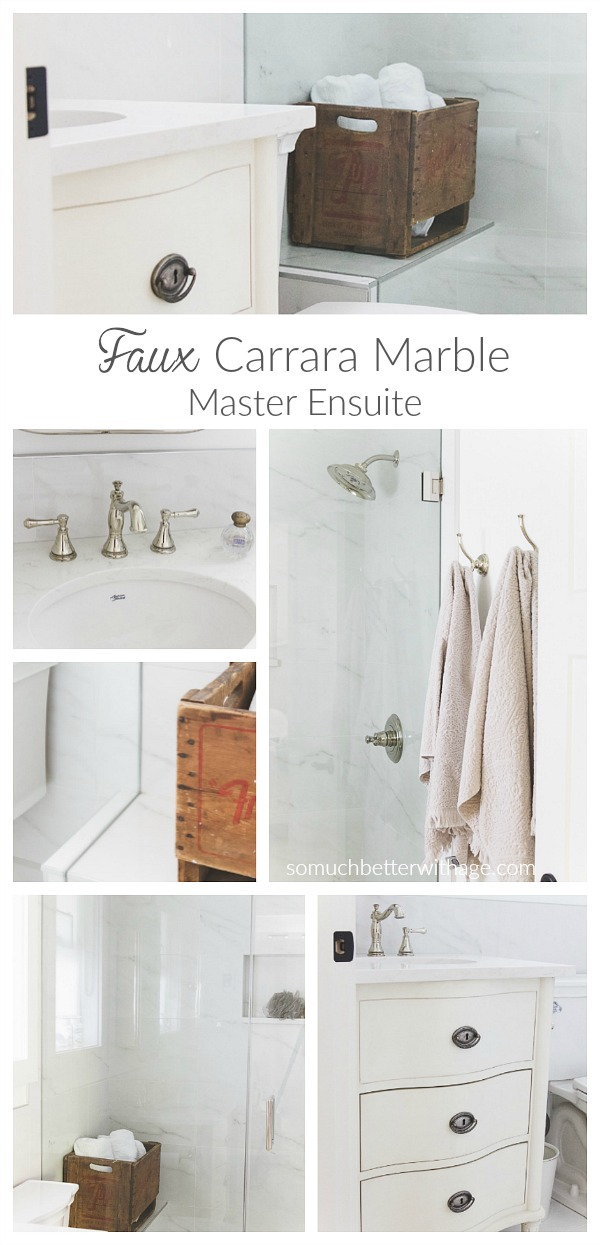 Faux carrara marble master ensuite complete renovation / So Much Better With Age